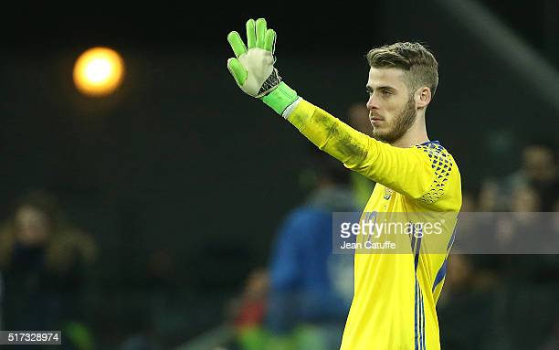 Goalkeeper of Spain David de Gea reacts during the international friendly match between Italy and Spain at Stadio Friuli on March 24 2016 in Udine...