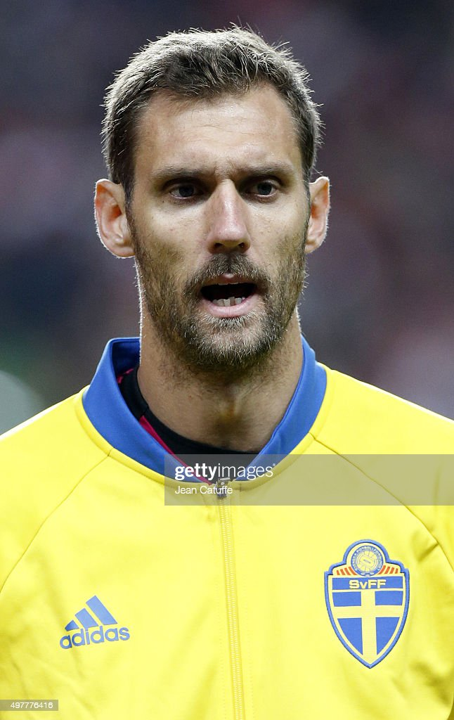 Goalkeeper of Sweden <a gi-track='captionPersonalityLinkClicked' href=/galleries/search?phrase=Andreas+Isaksson&family=editorial&specificpeople=542896 ng-click='$event.stopPropagation()'>Andreas Isaksson</a> looks on prior to the UEFA EURO 2016 qualifier play-off second leg match between Denmark and Sweden at Telia Parken stadium on November 17, 2015 in Copenhagen, Denmark.