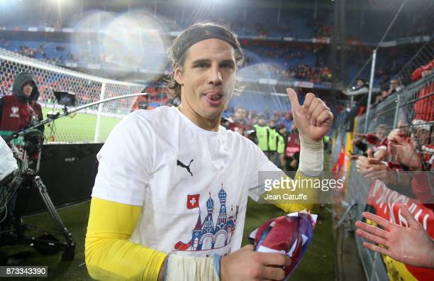 Goalkeeper of Switzerland Yann Sommer celebrates the qualification for Russia following the FIFA 2018 World Cup Qualifier PlayOff Second Leg between...