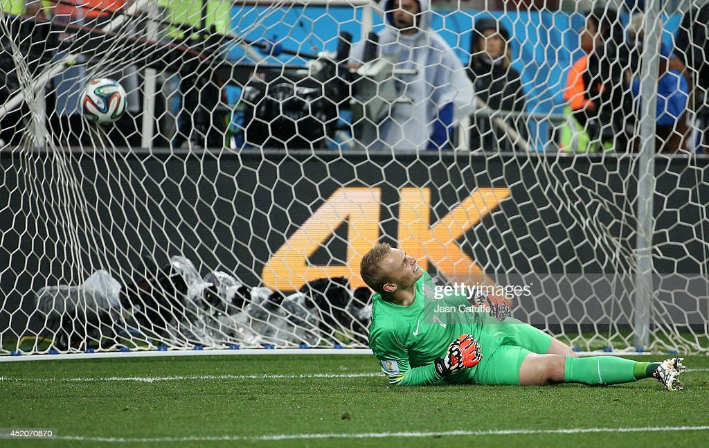 Goalkeeper of the Netherlands Jasper Cillessen makes a face while conceding the last penalty during the shootout synonym of elimination at the end of the 2014 FIFA World Cup Brazil Semi Final match between Netherlands and Argentina at Arena de Sao Paulo on July 9, 2014 in Sao Paulo, Brazil.
