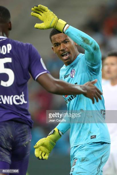 Goalkeeper of Toulouse Alban Lafont during the French Ligue 1 match between Olympique de Marseille and Toulouse FC at Stade Velodrome on September 24...