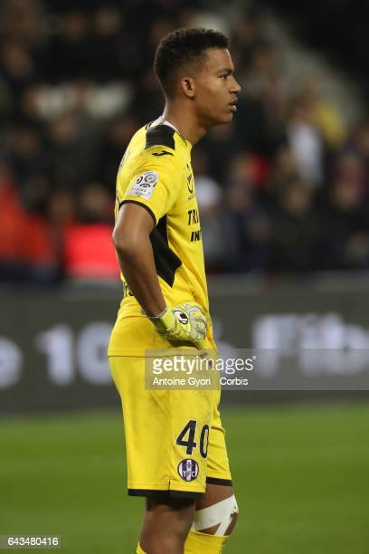 Goalkeeper of Toulouse Alban Lafont in action during the French Ligue 1 match between Paris SaintGermain and Toulouse FC at Parc des Princes stadium...