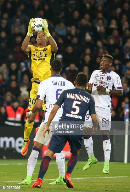 Goalkeeper of Toulouse Alban Lafont Jacques Francois Moubandje of Toulouse in action during the French Ligue 1 match between Paris SaintGermain and...