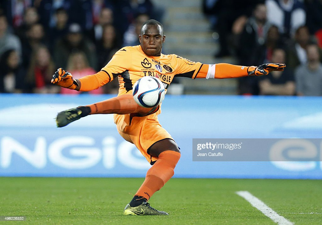 Goalkeeper of Toulouse <a gi-track='captionPersonalityLinkClicked' href=/galleries/search?phrase=Ali+Ahamada&family=editorial&specificpeople=7552244 ng-click='$event.stopPropagation()'>Ali Ahamada</a> in action during the French Ligue 1 match between Paris Saint-Germain (PSG) and Toulouse FC (TFC) at Parc des Princes stadium on November 7, 2015 in Paris, France.