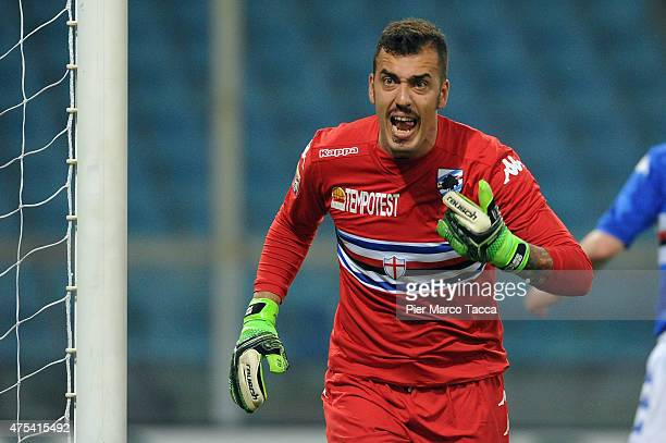 Goalkeeper of UC Sampdoria Emiliano Viviano reacts during the Serie A match between UC Sampdoria and Parma FC at Stadio Luigi Ferraris on May 31 2015...