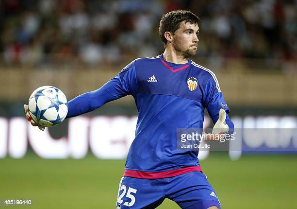 Goalkeeper of Valencia CF Mathew Ryan in action during the UEFA Champions League play off round Second Leg between AS Monaco and Valencia CF at Stade...