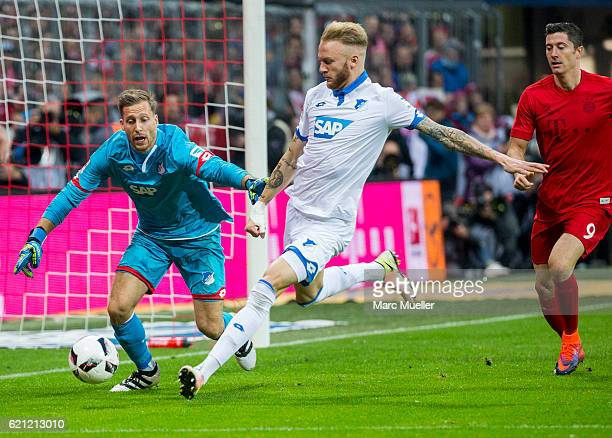 Goalkeeper Oliver Baumann and Kevin Vogt of TSG 1899 Hoffenheim during the Bundesliga match between Bayern Muenchen and TSG 1899 Hoffenheim at...