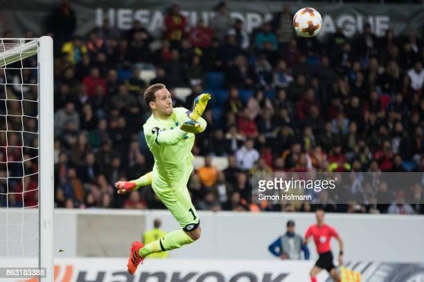 Goalkeeper Oliver Baumann of Hoffenheim makes a save during the UEFA Europa League group C match between 1899 Hoffenheim and Istanbul Basaksehir FK...