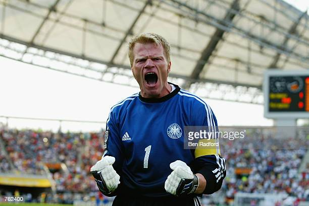 Goalkeeper Oliver Kahn of Germany celebrates Oliver Neuville's winning goal during the Germany v Paraguay World Cup Second Round match played at the...