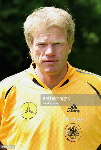 Goalkeeper Oliver Kahn poses during the photo call of the German Football Team on June 1 2005 in Munich Germany