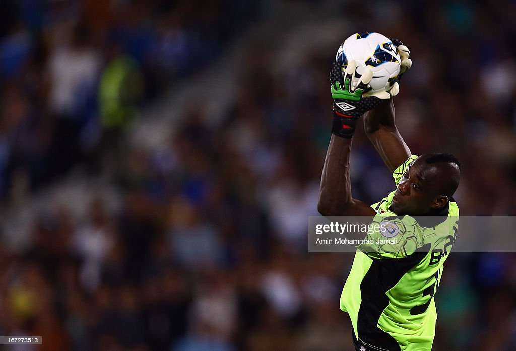 Goalkeeper Omar Barry of Al Rayyan in action during the AFC Champions League Group D match between Esteghlal and Al Rayyan at Azadi Stadium on April 23, 2013 in Tehran, Iran.