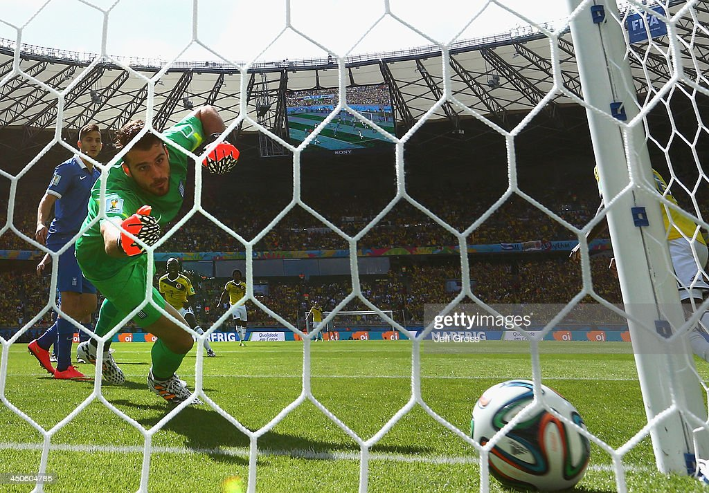 Goalkeeper Orestis Karnezis of Greece fails to save a shot by Pablo Armero of Colombia for his team's first goal during the 2014 FIFA World Cup Brazil Group C match between Colombia and Greece at Estadio Mineirao on June 14, 2014 in Belo Horizonte, Brazil.