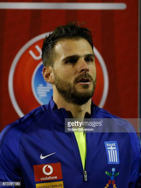 Goalkeeper Orestis Karnezis of Greece looks on prior the FIFA 2018 World Cup Qualifier PlayOff First Leg between Croatia and Greece at Stadion...