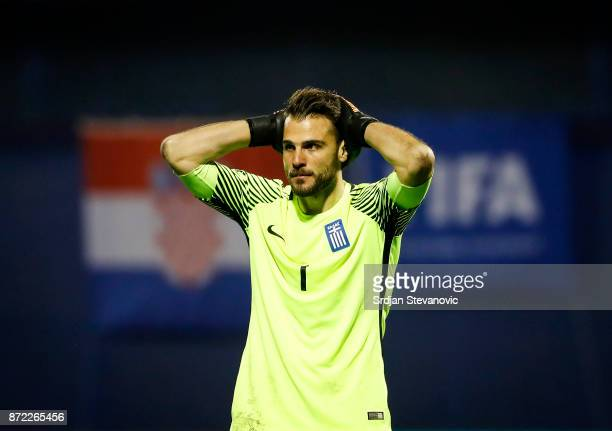 Goalkeeper Orestis Karnezis of Greece reacts during the FIFA 2018 World Cup Qualifier PlayOff First Leg between Croatia and Greece at Stadion...
