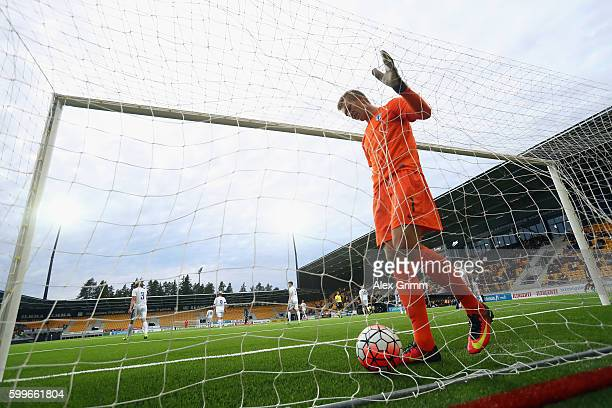 Goalkeeper Otso Virtanen of Finland reacts after Serge Gnabry of Germany scored his team's first goal during the 2017 UEFA European U21 Championships...