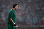Goalkeeper Pantilimon of Manchester City shouts to his teammates during the preseason Asian Tour friendly match between Arsenal and Manchester City...