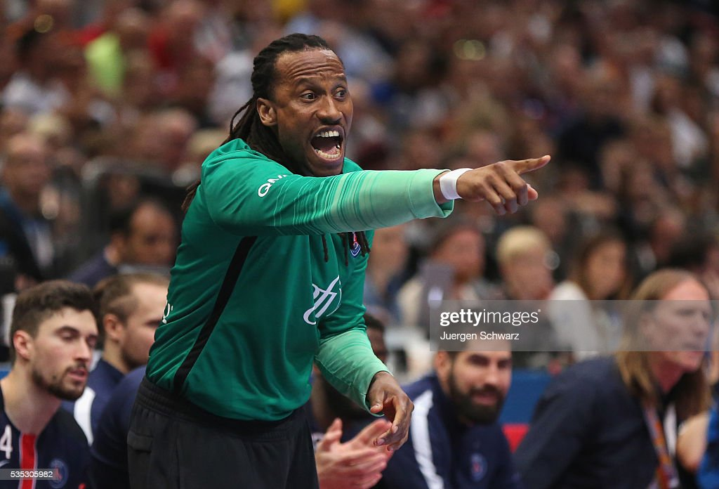 Goalkeeper Patrice Annonay of Paris shouts and points at the sideline during the third place play-off at the EHF Final4 between Paris St.-Germain and THW Kiel on May 29, 2016 in Cologne, Germany.