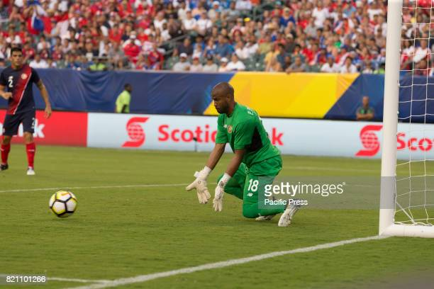 Goalkeeper Patrick Pemberton of Costa Rica defends during 2017 Gold Cup quarterfinal game against Panama Costa Rica won 1 0