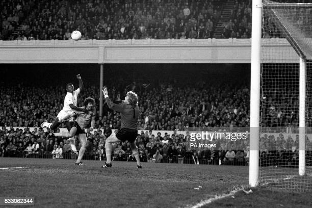 Goalkeeper Paul Bradshaw raches out in vain as Garth Crooks puts Tottenham Hotspur into an eleventh minute lead in their FA Cup semifinal replay...