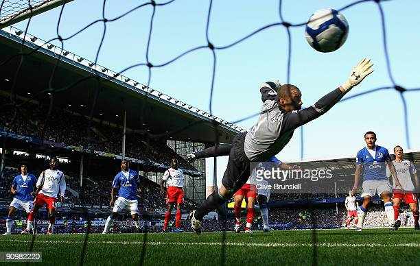 Goalkeeper Paul Robinson of Blackburn Rovers fails to stop the ball as Louis Saha of Everton scores the opening goal of the Barclays Premier League...