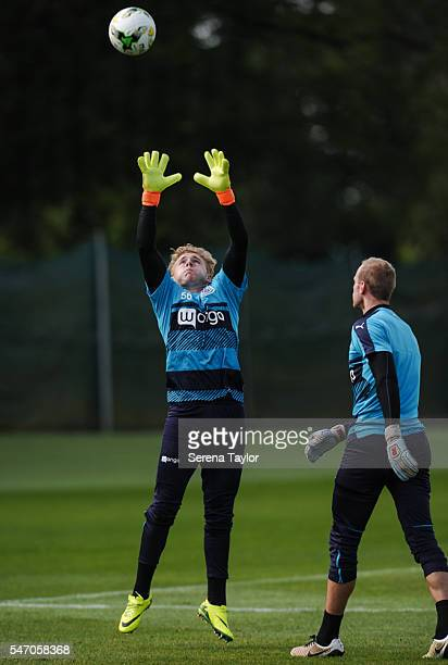 Goalkeeper Paul Woolston jumps in the air to catch the ball in two hands during the Newcastle United Training Camp at Carton House on July 13 in...