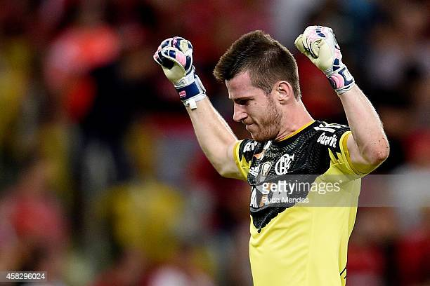 Goalkeeper Paulo Victor of Flamengo in action during a match between Flamengo and Chapecoense as part of Brasileirao Series A 2014 at Maracana...