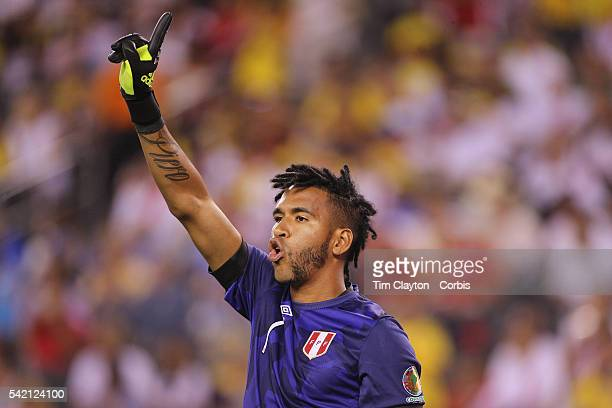 Goalkeeper Pedro Gallese of Peru in action during the Colombia Vs Peru Quarterfinal match of the Copa America Centenario USA 2016 Tournament at...