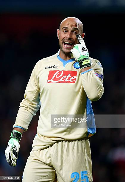 Goalkeeper Pepe Reina of Napoli gestures during UEFA Champions League Group F match between Arsenal FC and SSC Napoli at Emirates Stadium on October...