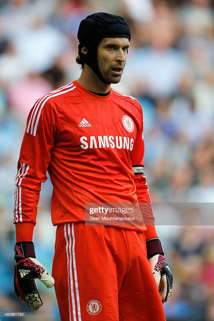 Goalkeeper, <a gi-track='captionPersonalityLinkClicked' href=/galleries/search?phrase=Petr+Cech&family=editorial&specificpeople=212890 ng-click='$event.stopPropagation()'>Petr Cech</a> of Chelsea looks on during the pre season friendly match between Vitesse Arnhem and Chelsea at the Gelredome Stadium on July 30, 2014 in Arnhem, Netherlands.
