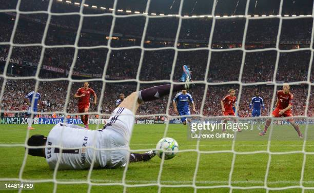 Goalkeeper Petr Cech of Chelsea saves a penalty by Arjen Robben of Bayern Muenchen during UEFA Champions League Final between FC Bayern Muenchen and...