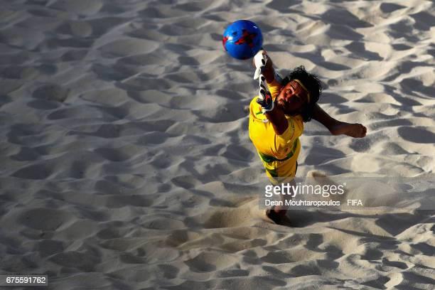 Goalkeeper Peyman Hosseini of Iran makes a save during the FIFA Beach Soccer World Cup Bahamas 2017 group B match between Nigeriaand Iran at...