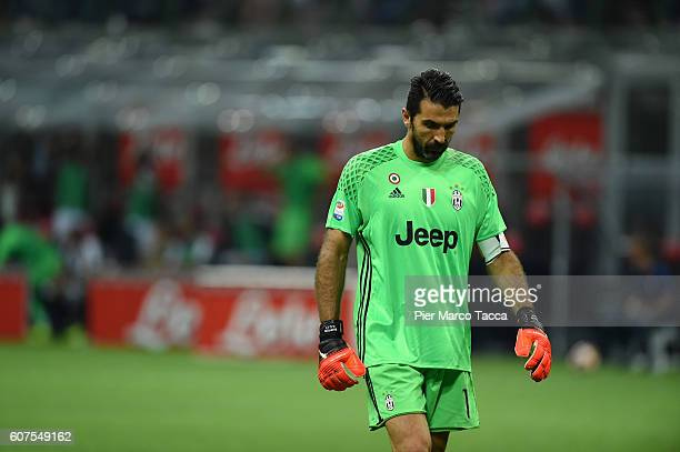 Goalkeeper pf Juventus FC Gianluigi disappointed during the Serie A match between FC Internazionale and Juventus FC at Stadio Giuseppe Meazza on...