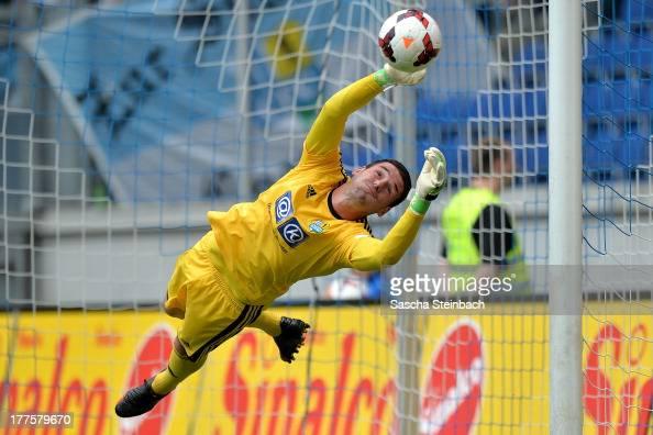 Goalkeeper Philiipp Pentke of Chemnitz saves the ball during the 3 Liga match between MSV Duisburg and Chemintzer FC at SchauinslandReisenArena on...