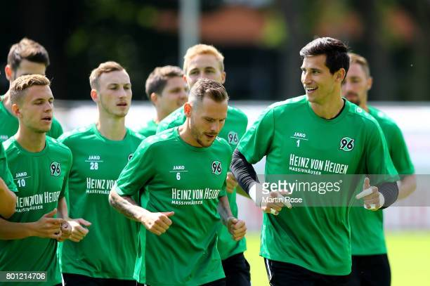 Goalkeeper Philipp Tschauner looks on during a Hannover 96 training session at HDIArena on June 26 2017 in Hanover Germany