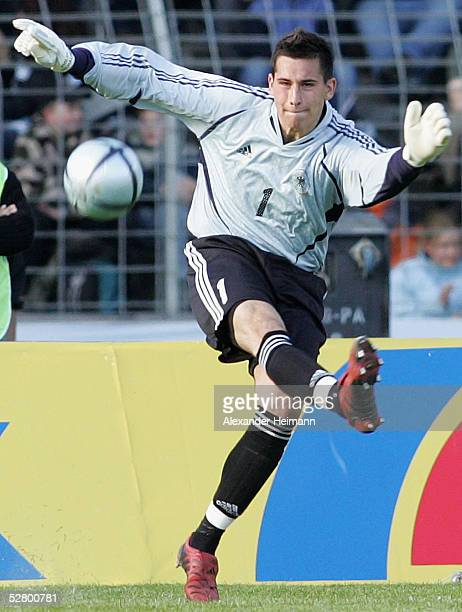 Goalkeeper Philipp Tschauner of Germany in action during the under 20 men's match between Germany and China on May 11 2005 in Schweinfurt Germany