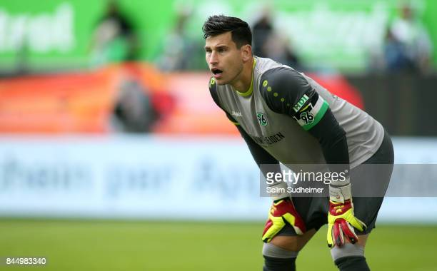 Goalkeeper Philipp Tschauner of Hannover 96 looks on during the Bundesliga match between VfL Wolfsburg and Hannover 96 at Volkswagen Arena on...