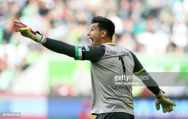 Goalkeeper Philipp Tschauner of Hannover 96 reacts during the Bundesliga match between VfL Wolfsburg and Hannover 96 at Volkswagen Arena on September...