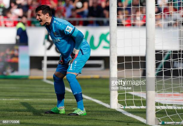 Goalkeeper Philipp Tschauner of Hannover 96 reacts during the Second Bundesliga match between Hannover 96 and VfB Stuttgart at HDIArena on May 14...