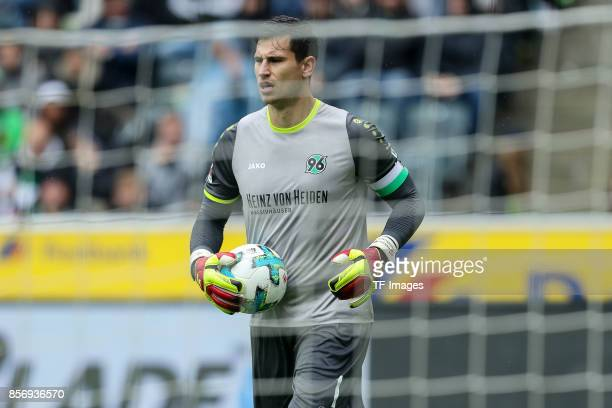 Goalkeeper Philipp Tschauner of Hannover controls the ball during the Bundesliga match between Borussia Moenchengladbach and Hannover 96 at...