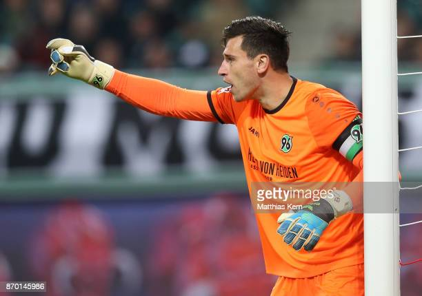Goalkeeper Philipp Tschauner of Hannover gestures during the Bundesliga match between RB Leipzig and Hannover 96 at Red Bull Arena on November 4 2017...