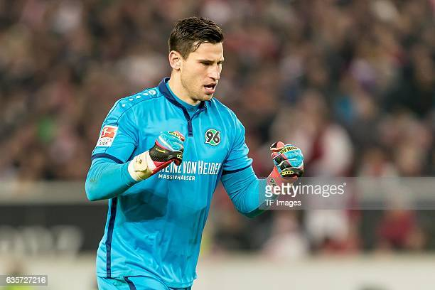 goalkeeper Philipp Tschauner of Hannover gestures during the Second Bundesliga match between VfB Stuttgart and Hannover 96 at MercedesBenz Arena on...