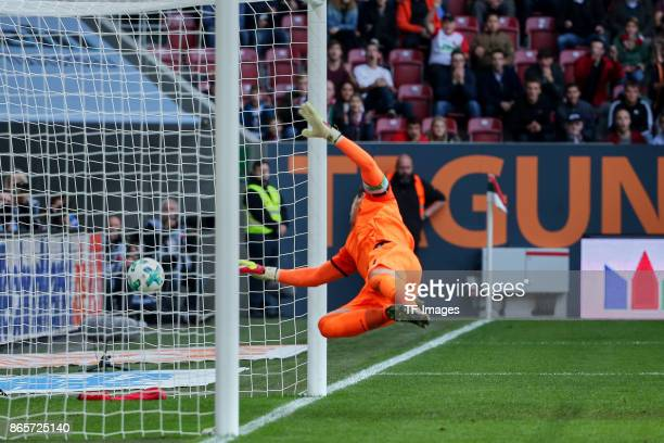 Goalkeeper Philipp Tschauner of Hannover in action during the Bundesliga match between FC Augsburg and Hannover 96 at WWKArena on October 21 2017 in...