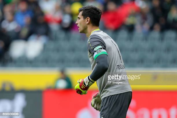 Goalkeeper Philipp Tschauner of Hannover looks on during the Bundesliga match between Borussia Moenchengladbach and Hannover 96 at BorussiaPark on...