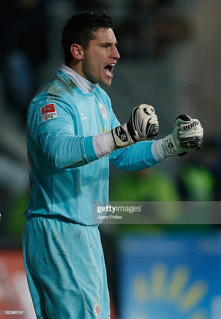 Goalkeeper <a gi-track='captionPersonalityLinkClicked' href=/galleries/search?phrase=Philipp+Tschauner&family=editorial&specificpeople=747115 ng-click='$event.stopPropagation()'>Philipp Tschauner</a> of St. Pauli celebrates during the Second Bundesliga match between 1. FC St. Pauli and FSV Frankfurt 1899 at Millerntor Stadium on February 22, 2013 in Hamburg, Germany.