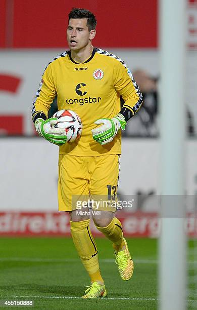 Goalkeeper Philipp Tschauner of StPauli controls the ball during the Second Bundesliga match between Greuther Fuerth and FC St Pauli at TrolliArena...