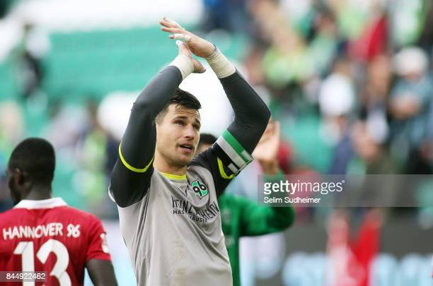 Goalkeeper Philipp Tschauner reacts after the Bundesliga match between VfL Wolfsburg and Hannover 96 at Volkswagen Arena on September 9 2017 in...