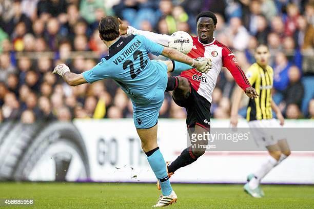 goalkeeper Piet Velthuizen of Vitesse Elvis Manu of Feyenoord during the Dutch Eredivisie match between Vitesse Arnhem and Feyenoord Rotterdam at...