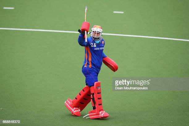 Goalkeeper Pirmin Blaak of HC OranjeRood celebrates his team scoring a goal in the Euro Hockey League KO16 match between HC OranjeRood and AH BC...