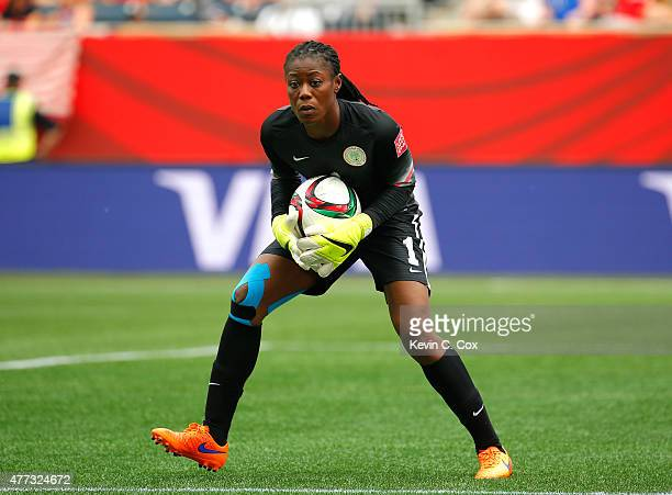 Goalkeeper Precious Dede of Nigeria in action against Sweden during the FIFA Women's World Cup Canada 2015 Group D match between Sweden and Nigeria...