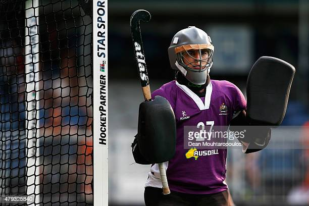 Goalkeeper Rachael Lynch of Australia in action during the Fintro Hockey World League SemiFinal match between Netherlands and Australia held at KHC...